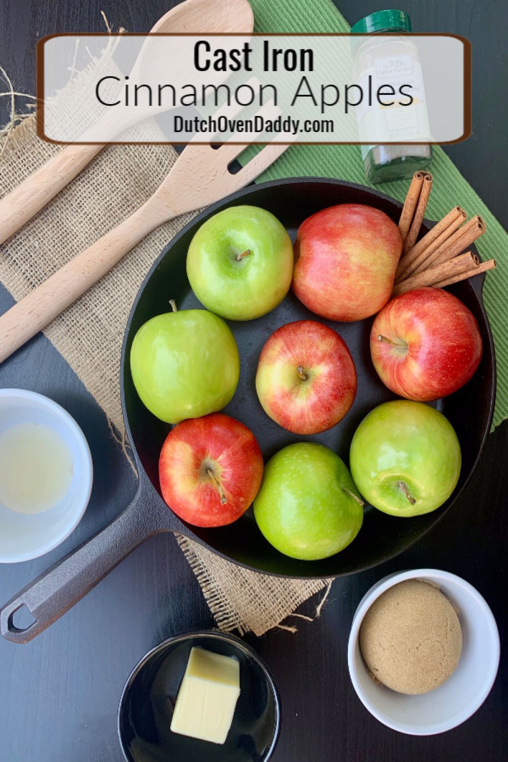 Ingredients to make cinnamon apples in a cast iron skillet