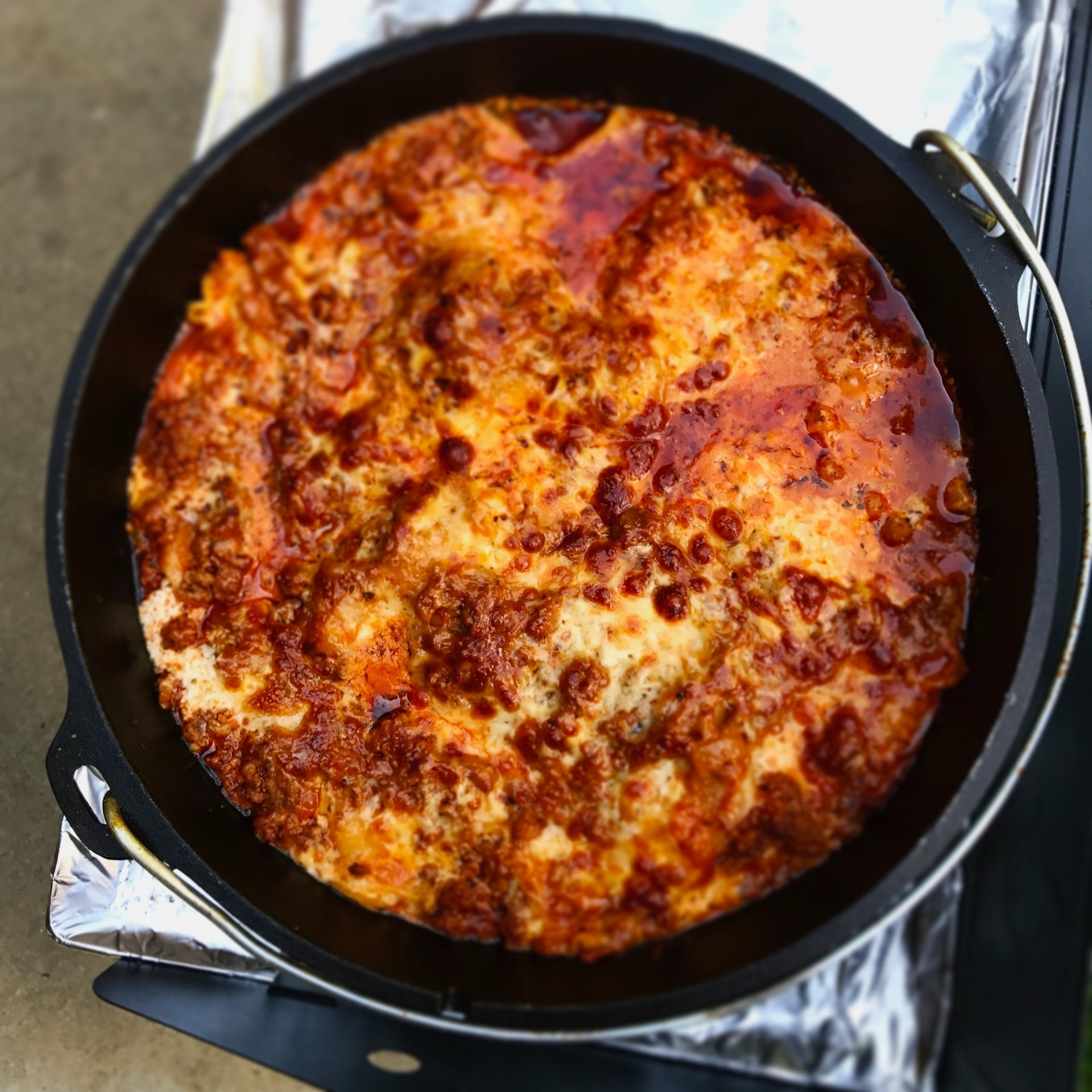 Dutch Oven Lasagna has all the flavor of your favorite lasagna but is made in your cast iron dutch oven