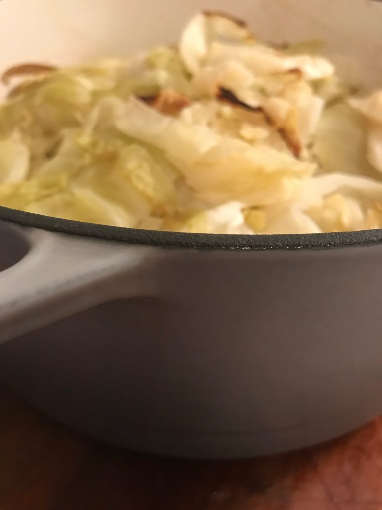Side view of Dutch Oven Corned Beef and Cabbage