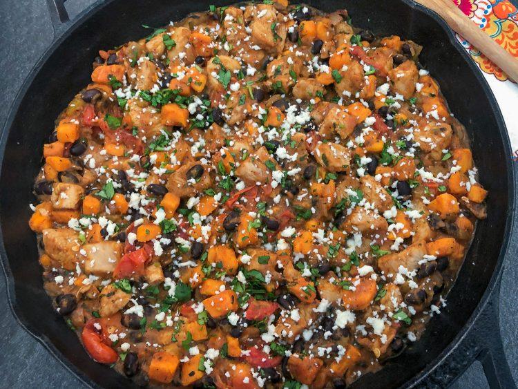Mexican inspired Chicken Sweet Potato skillet dinner