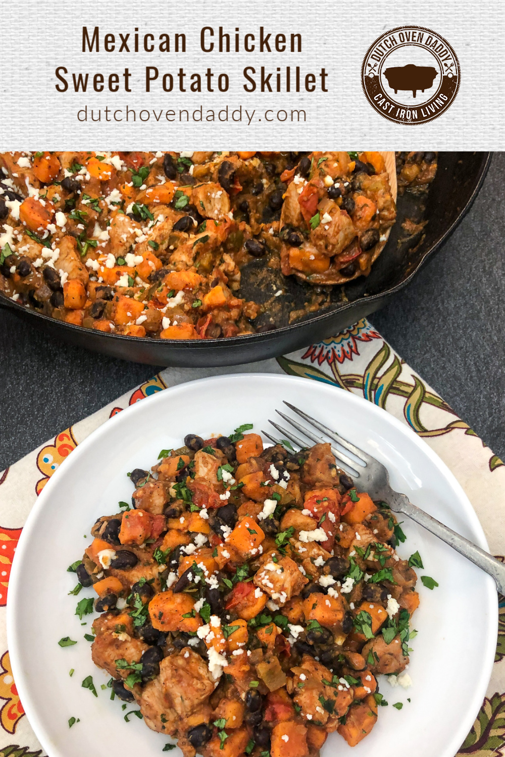 Serving of Mexican Chicken and Sweet Potato skillet on a white plate with a skillet in the background.
