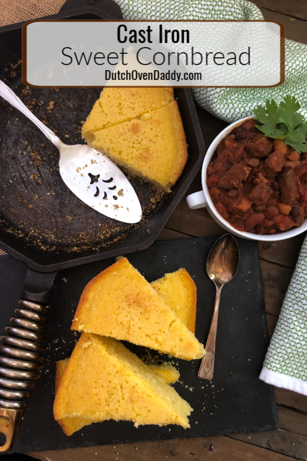 Sweet Cornbread sliced, partially on a platter and in the skillet with a side of chili.