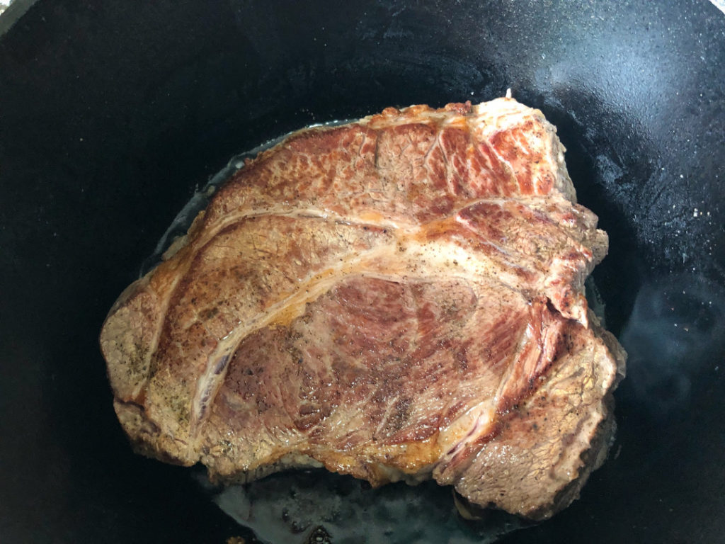 Perfectly seared roast in a dutch oven.