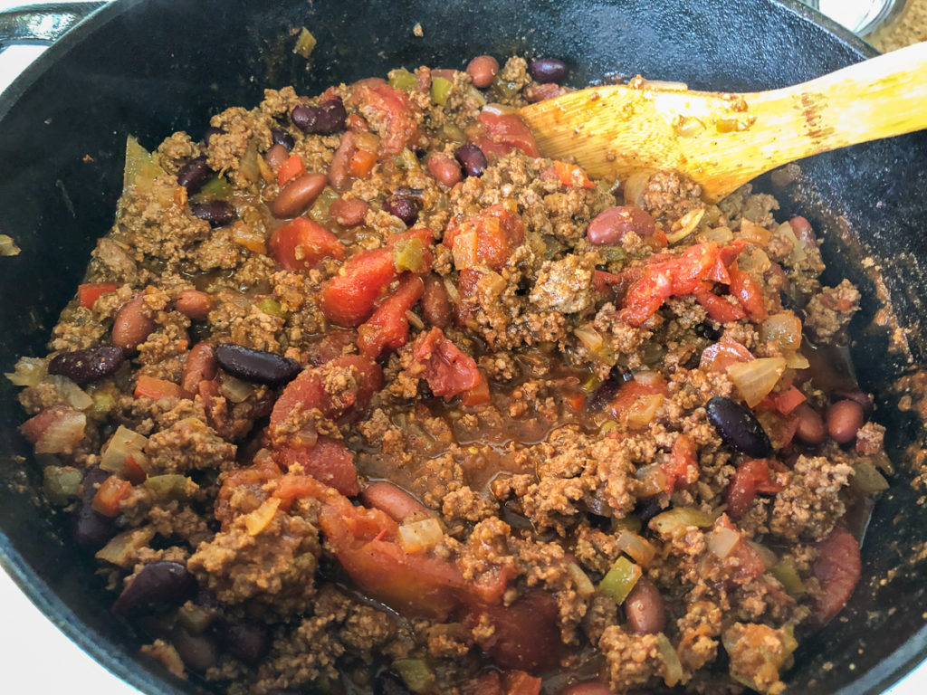The Dutch Oven Awesome chili is simmering.