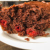 Side view of the skillet chocolate cherry cake.