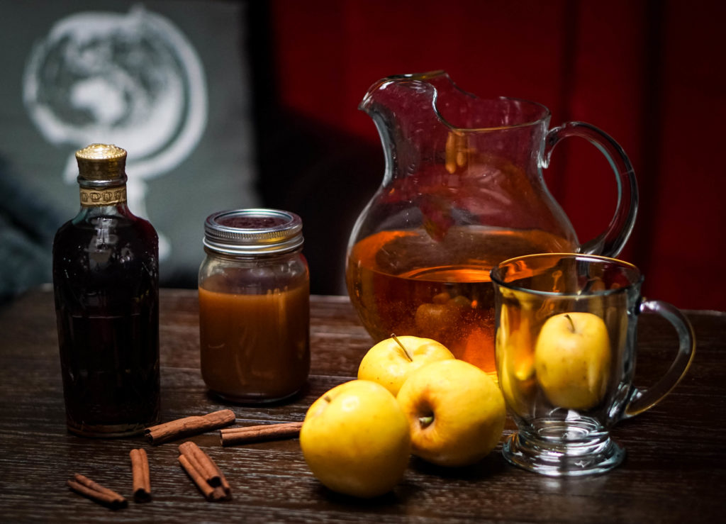 Ingredients to make the caramel apple whiskey toddy from WetWhistledrinks.com