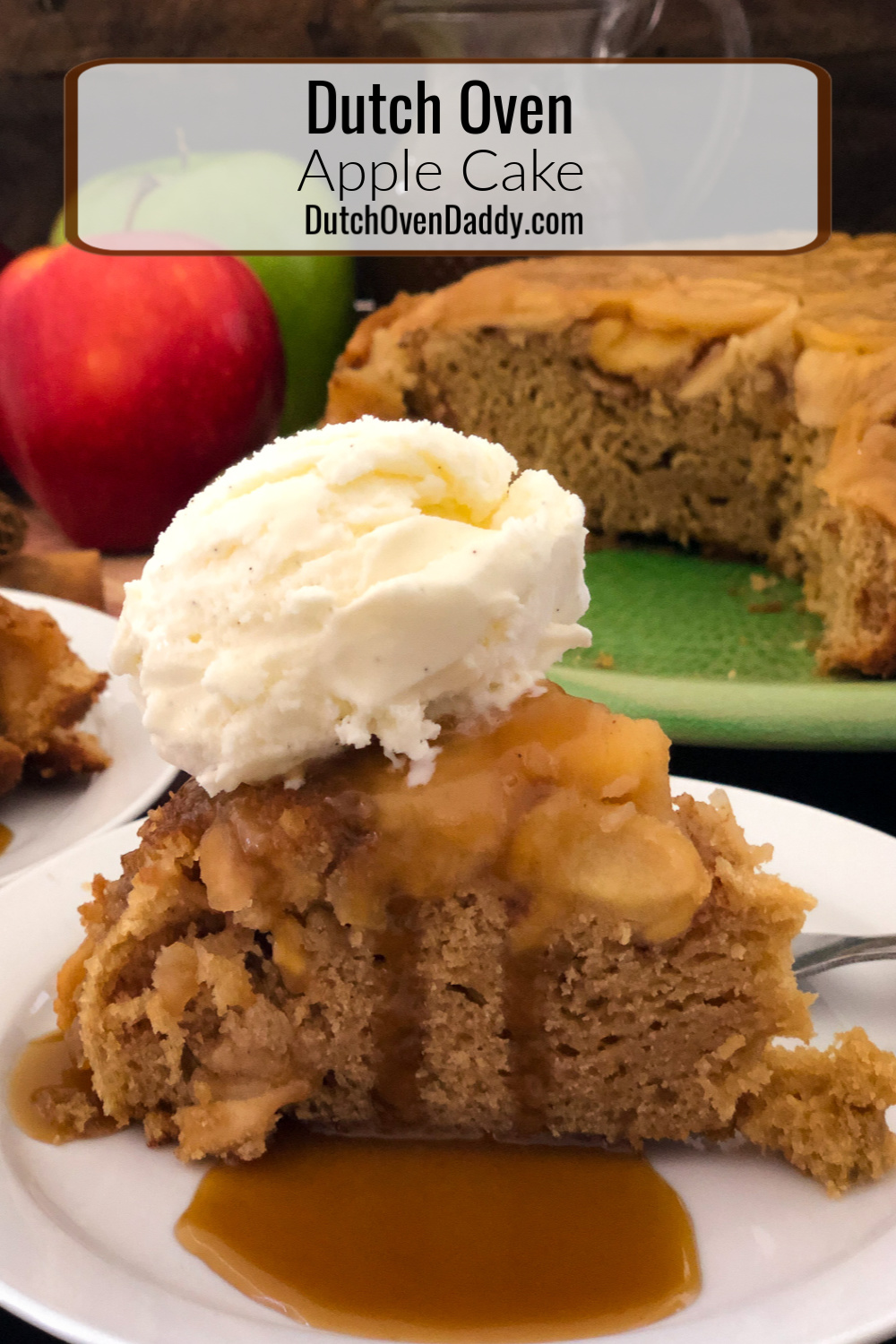 A slice of dutch oven apple cake with a scoop of vanilla bean ice cream and drizzled with homemade caramel sauce.