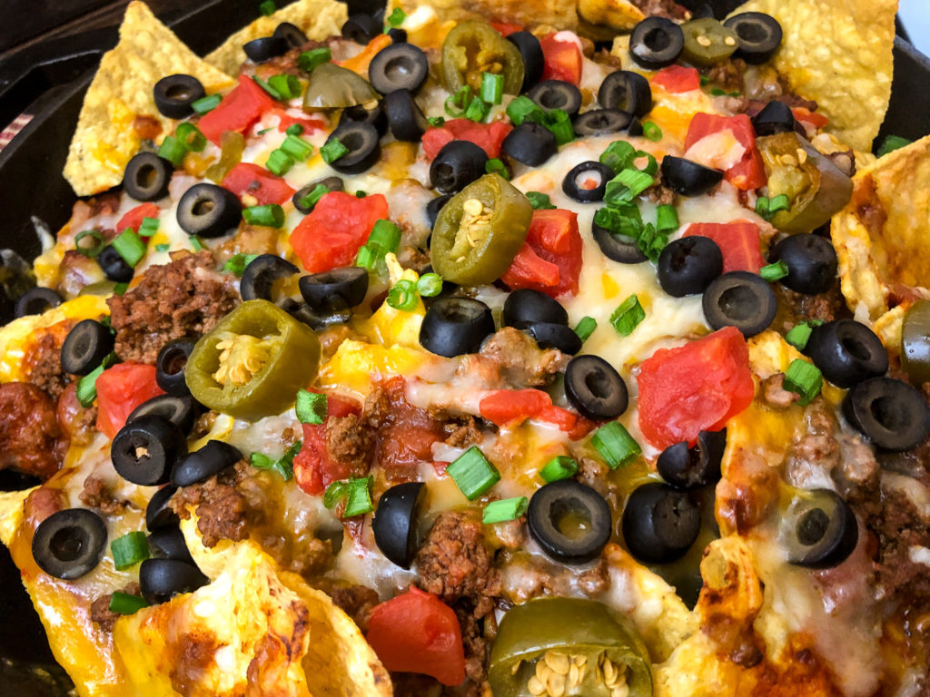 Close up view of freshly baked easy skillet nachos.