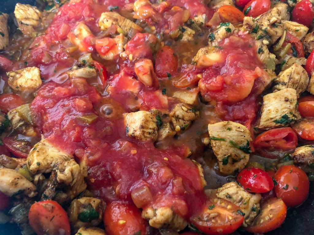 Salsa has been added to meat mixture.