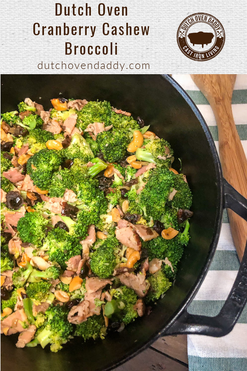 Half-view of a Dutch oven with cooked broccoli with bacon, cashews, and cranberries.