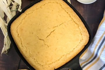Creamed Corn Cornbread still in the skillet ready to be served.