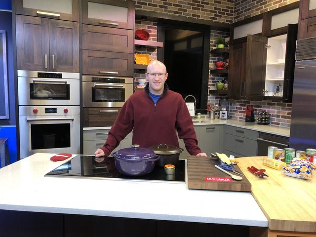 Dutch Oven Daddy on set at Fox 13 The Place in Utah cooking up a seven can soup.