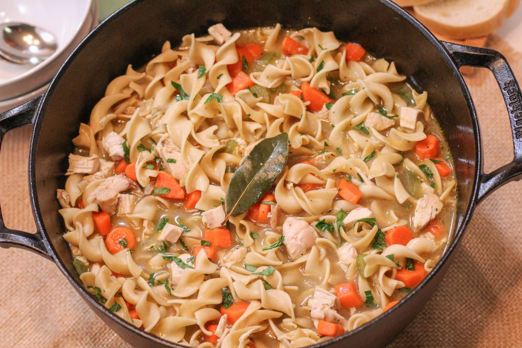 Ready to serve the Quick Dutch Oven Chicken Noodle Soup.