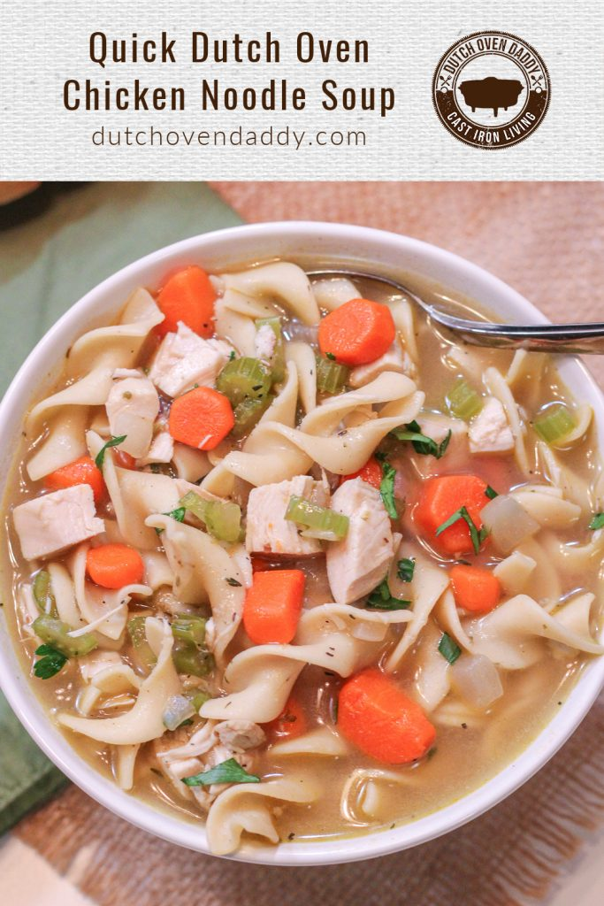 Branded image of the chicken noodle soup in a white bowl.