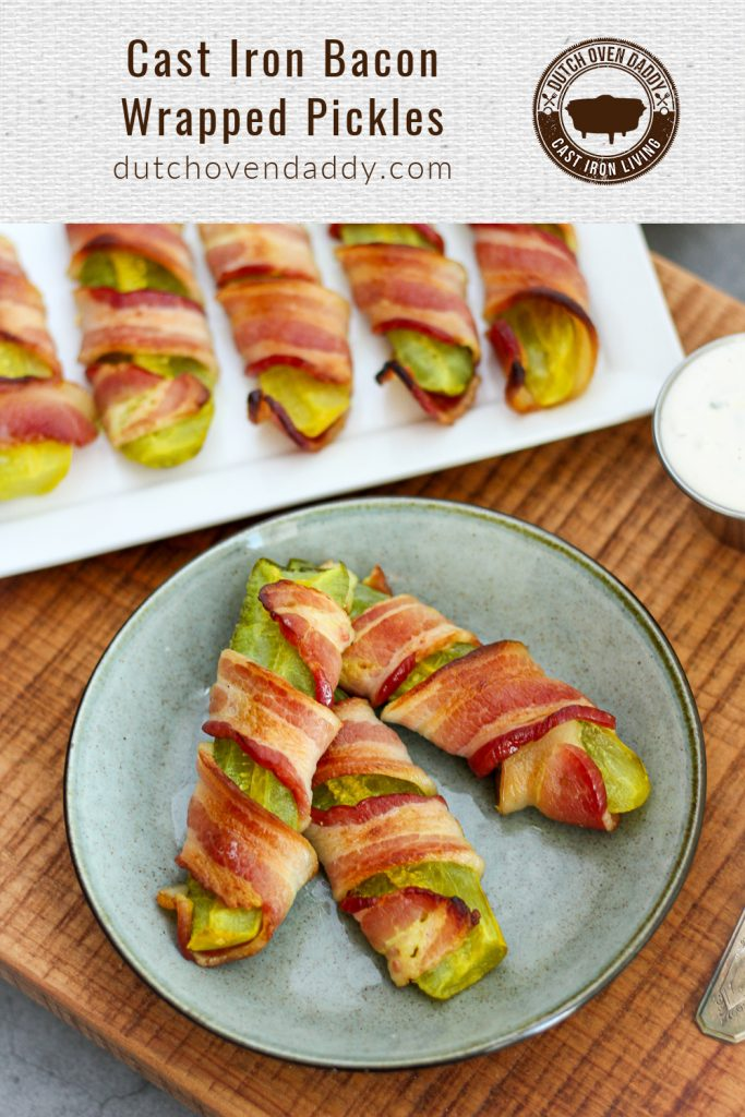 Branded image for Cast Iron Bacon Wrapped Pickles on both a plate and a platter.